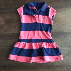Carter's 3T striped collared pink & navy dress